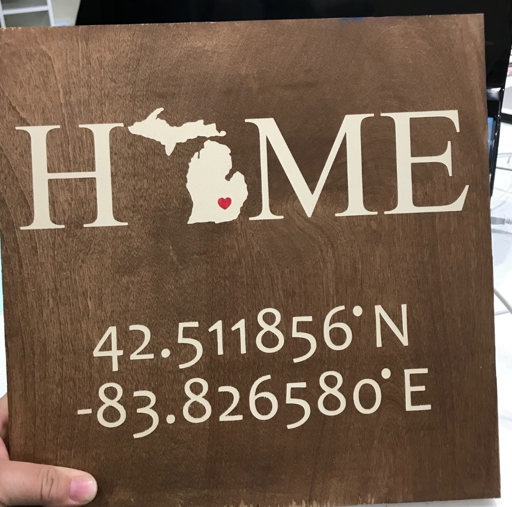 Home sign with GPS coordinates