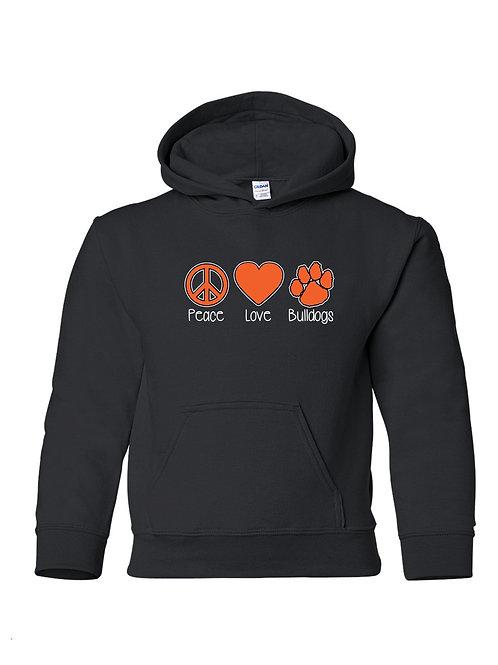"""Peace Love Bulldogs"" Hoodie"