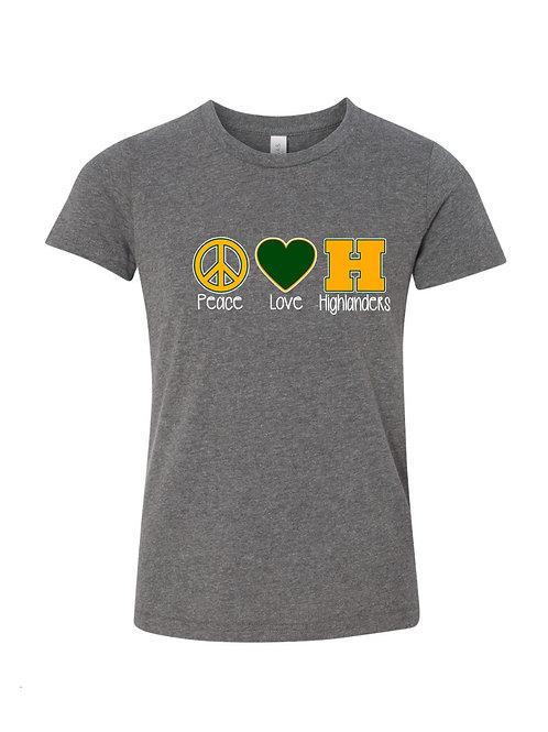 """""""Peace, Love, Highlanders"""" Tee"""