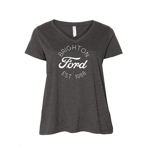 "Classic Brighton Ford ""Curvy"" Ladies V-Neck Tee"