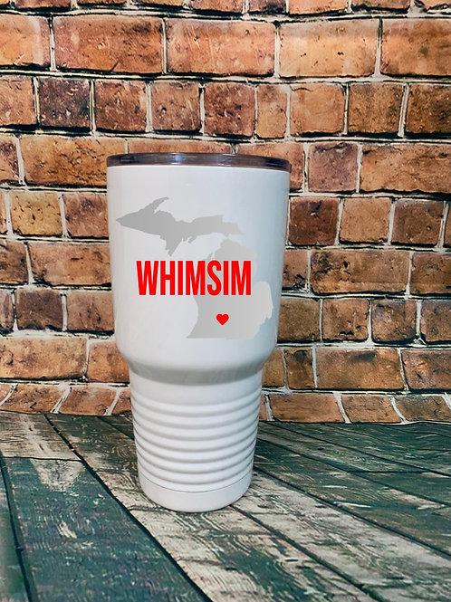 WHIMSIM 30 oz White Stainless Steel Tumbler