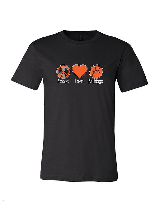 """""""Peace Love Bulldogs """" T-Shirt"""