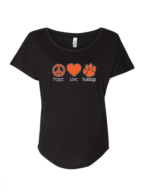 """Peace Love Bulldogs"" Ladies Dolman Tee"