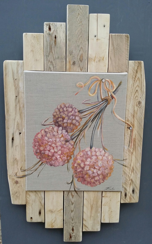 Peinture à l'huile sur lin naturel, entourage en bois