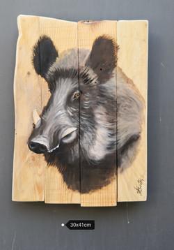 le sanglier - Huile sur bois