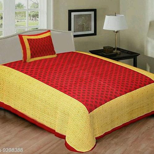 100 % Cotton Sanganeri Print Red Base With Yellow Border