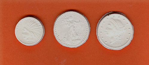 Old coins plaster of Paris painting project.