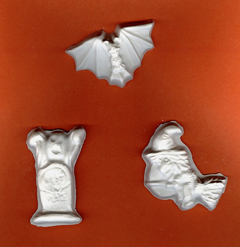 Halloween bat, ghost & witch plaster of Paris painting project.