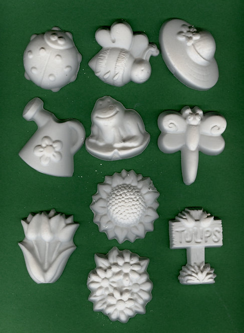 Garden items plaster of Paris painting project.