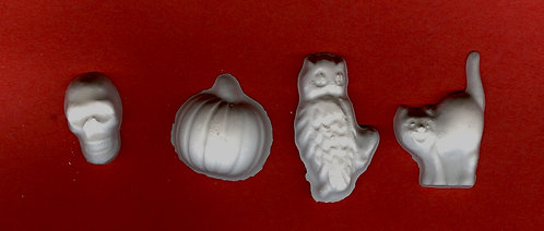 Halloween skull, Cat, Owl & Pumpkin plaster of Paris painting project.