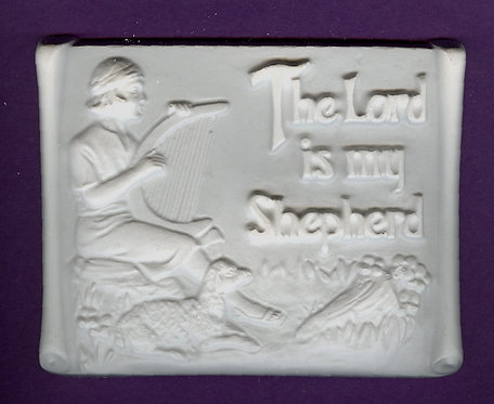 """""""The LORD is my shepherd"""" plaster of Paris painting project."""