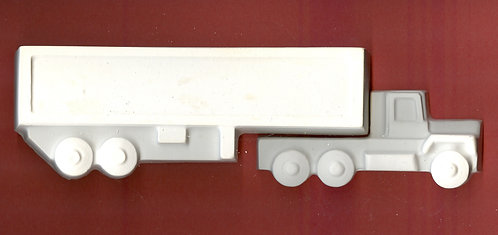Semi truck and trailer plaster of Paris painting project.
