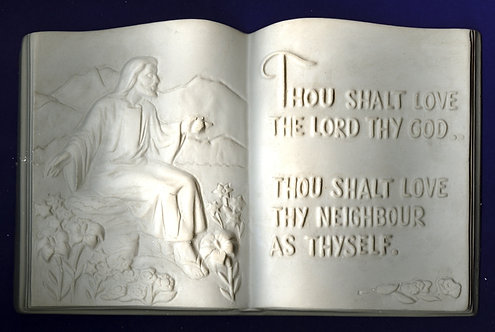 Thou Shall love the Lord plaque plaster of Paris painting project.