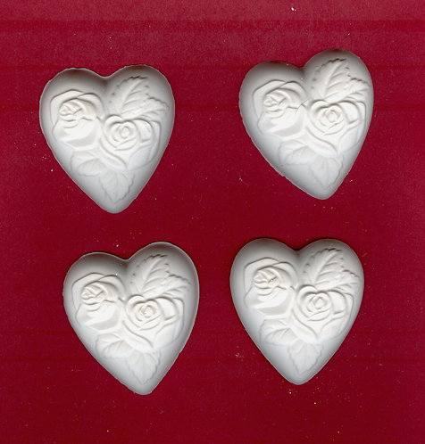 Heart w/rose design plaster of Paris painting project.