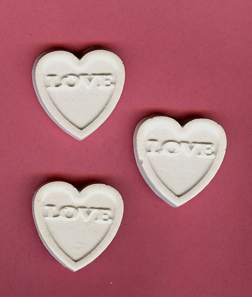 Smooth heart w/love plaster of Paris painting project.