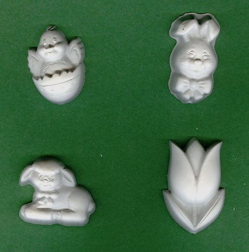 Easter eggs, tulip, bunny & lamb plaster of Paris painting project.