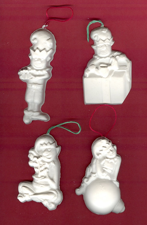 Busy Elves ornaments plaster of Paris painting project.