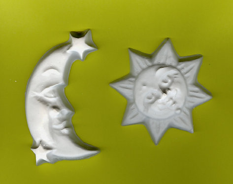 Sun & moon plaster of Paris painting project.
