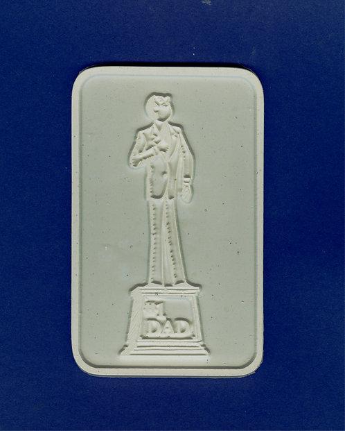 """#1 DAD"" statue plaque plaster of Paris painting project."