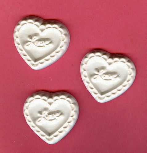 Small lacy hearts plaster of Paris painting project.