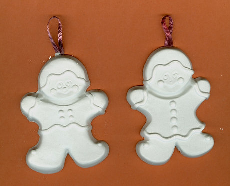 Large Gingerbread man ornaments plaster of Paris painting project.