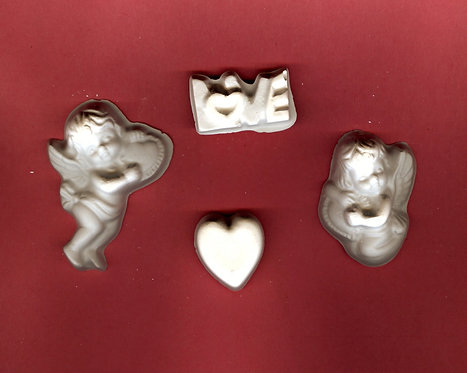 Cupid, love, heart, & cherub plaster of Paris painting project.