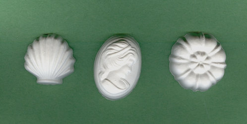 Lady cameo, shell, flower plaster of Paris painting project.