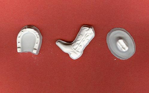 Cowboy mix, hat, boot & horse shoe plaster of Paris painting project.