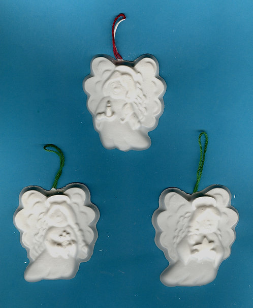 Three angels ornaments plaster of Paris painting project.