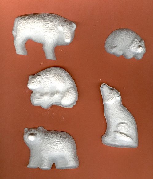 Fuzzy wild animals plaster of Paris painting project.