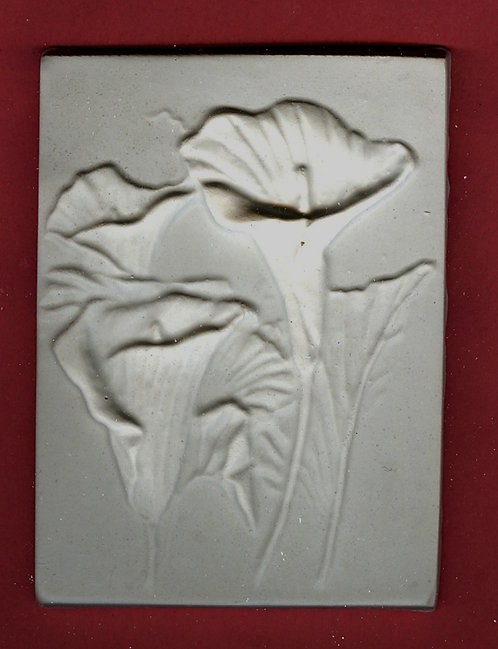 Flower tile #3: Calla lily plaster of Paris painting project.