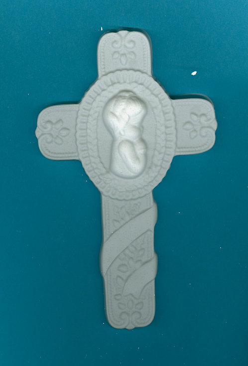 Baby Baptism Cross plaster of Paris painting project.