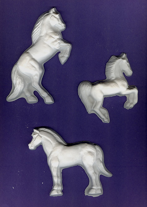 Three design Horses plaster of Paris painting project.