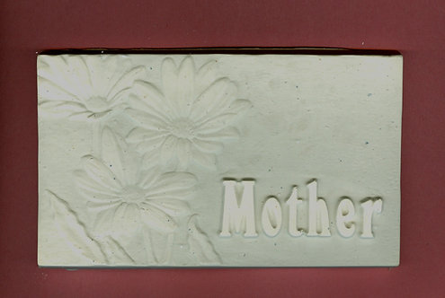 """""""Mother"""" with daisies plaque plaster of Paris painting project."""