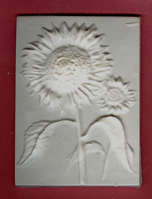 Flower tile #4: Sunflower plaster of Paris painting project.