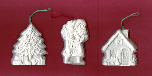 Cabin, Santa & Christmas tree ornaments plaster of Paris painting project.