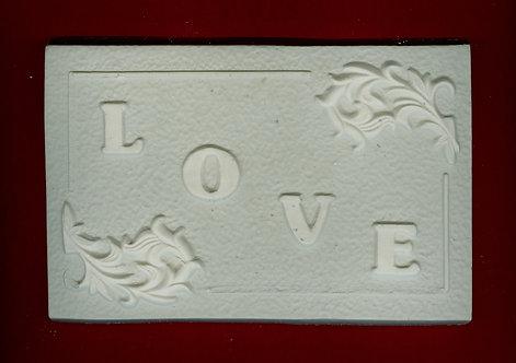 """LOVE"" plaque square plaster of Paris painting project."