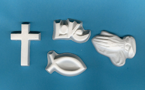 Cross, Love, Fish & praying hands plaster of Paris painting project.