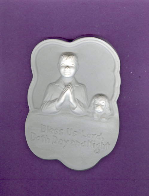 Boy & dog bed prayer plaque plaster of paris painting project.