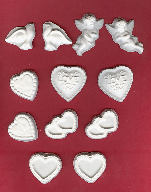 Valentine lacy set of plaster of Paris painting project.
