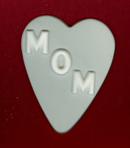 """MOM"" on large heart plaster of Paris painting project."