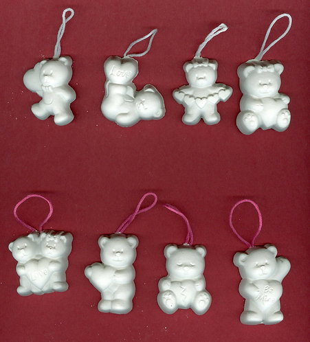 Loving bears ornaments plaster of Paris painting project.