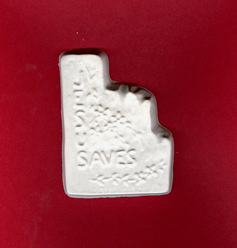 Jesus saves w/little flowers plaster of Paris painting project!