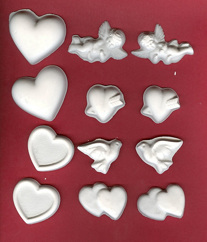 Valentine smooth set of plaster of Paris painting project.
