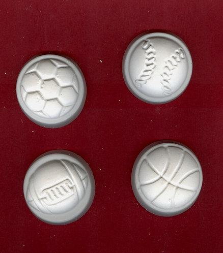 Sport balls disc plaster of Paris painting project.