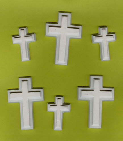 Cross with edge mix plaster of paris painting project.