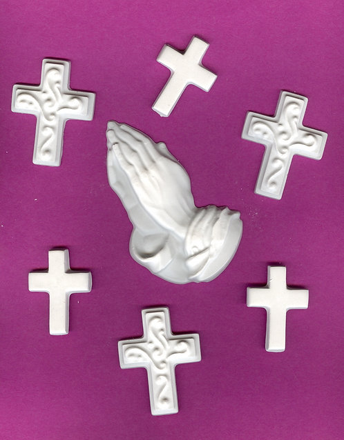 Praying hand & crosses plaster of paris painting project.