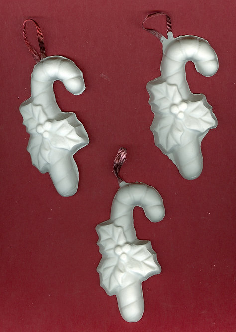 Large Candy Canes with holly ornaments plaster of Paris painting project.