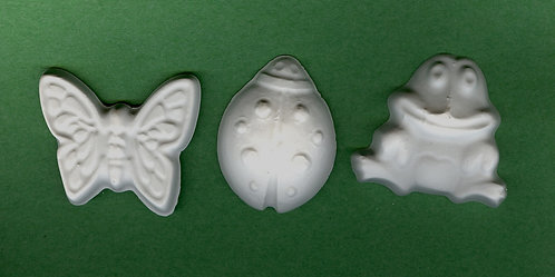 Butterfly, frog and ladybug plaster of Paris painting project.