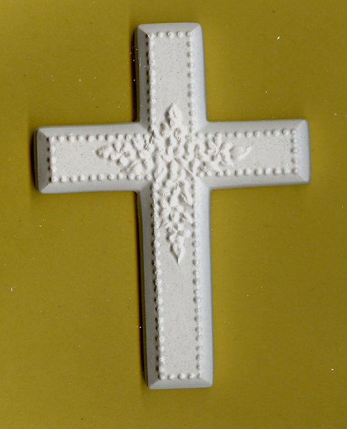 Cross w/flowers plaster of Paris painting project.